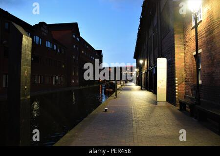 Night view over Birmingham canal - Stock Photo