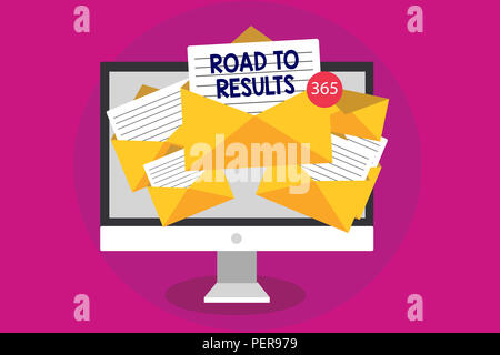 Handwriting text writing Road To Results. Concept meaning Business direction Path Result Achievements Goals Progress Computer receiving emails importa - Stock Photo