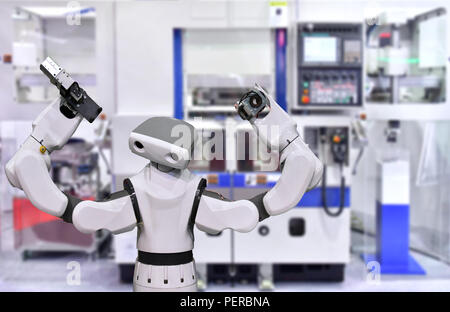 Modern Robot system in factory, Industry Robot concept . - Stock Photo