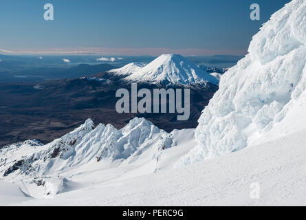View of Mount Ngauruhoe and Tongariro from the top of Mount Rupaehu in winter. New Zealand, National Park, Tongariro - Stock Photo