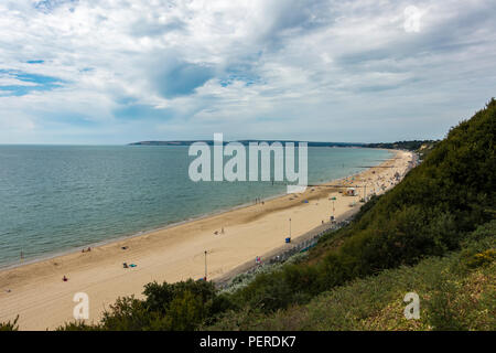 View of Bournemouth beach from the clifftop on a monday morning in July 2018, Bournemouth, Dorset, UK - Stock Photo