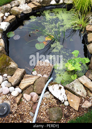 Pipe ready to top up water into a cottage small pretty garden pond in England - Stock Photo