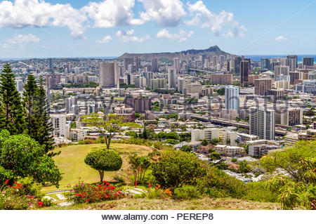 Punchbowl Crater National Memorial Cemetery of the Pacific Overlooking the City of Honolulu on the Island of Oahu in Hawaii - Stock Photo