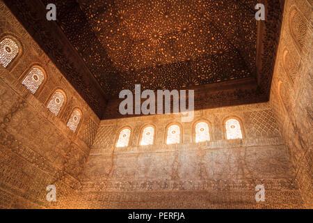 ornate decorative moorish architecture at the Alhambra palace in granada Spain - Stock Photo