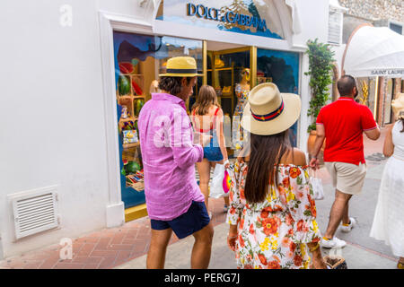 wealthy looking people shopping, expensive brands, Capri, Amalfi Italy, Europe - Stock Photo