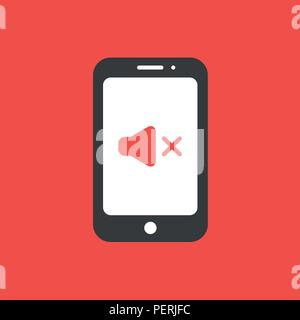 Flat vector icon concept of sound off symbol inside smartphone on red background. - Stock Photo