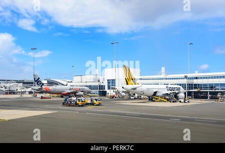 Jetstar and Tigerair airliners at the gate on the tarmac, Sydney Airport, Domestic Terminal, New South Wales, NSW, Australia - Stock Photo