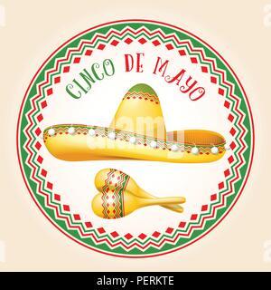 Cinco de Mayo emblem - mexican sombrero and maracas - Stock Photo