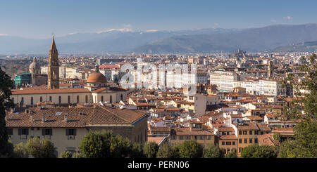 Florence, Italy - March 22, 2018: Afternoon sun illuminates the cityscape of Florence. - Stock Photo