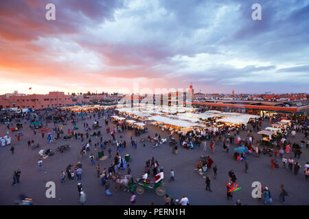 Elevated view over the Djemaa el-Fna, Marrakech (Marrakesh), Morocco, North Africa, Africa - Stock Photo