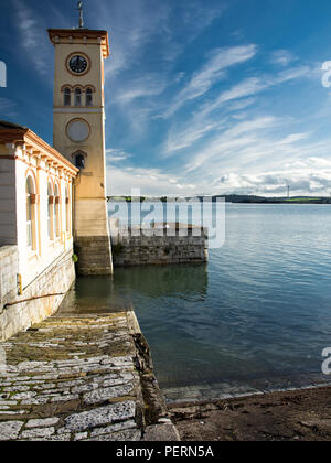The clock tower of the old town hall in the small tourist city of Cobh on the shores of Cork Harbour in the south of Ireland. - Stock Photo