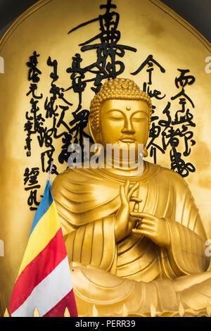 Golden Buddha statue and buddhist flag at the World Peace Pagoda in Pokhara, Nepal - Stock Photo