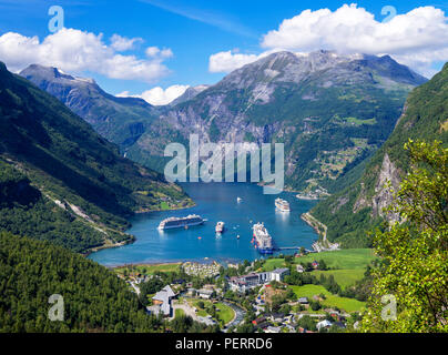 Geirangerfjord, Norway. View over the town of Geiranger and Geirangerfjord, Norway - Stock Photo