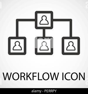 Simple workflow line art icon, vector - Stock Photo