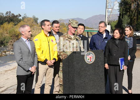 U.S. Army Corps of Engineers Los Angeles District Commander Col. Kirk Gibbs joined Los Angeles Mayor Eric Garcetti and LA County Supervisor Hilda Solis Jan. 8 to announce that the Corps will begin interim risk reduction measures to improve flood protection on the Los Angeles River during El Niño. The District received emergency funding to begin work next week on an area of the river that spans from Griffith Park to Elysian Valley. - Stock Photo