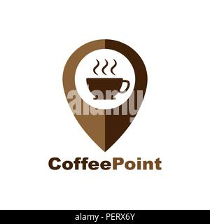 Coffee Cup House Cafe Logo Design. Pointer and a cup of hot coffee, web icon. vector design - Stock Photo