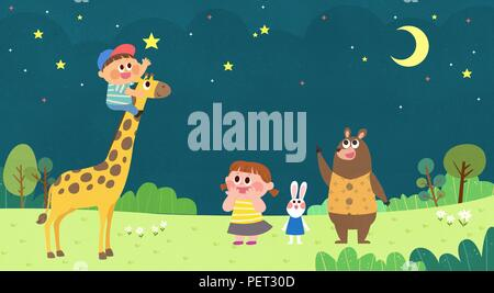 Vector - Children's dreams of a fairytale land, they living in a fairy story illustration 019 - Stock Photo