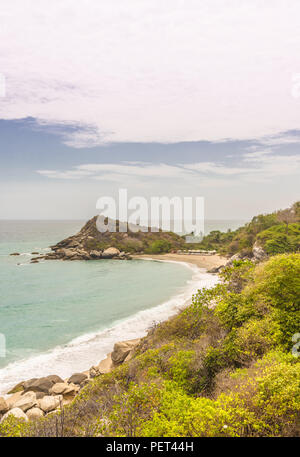 A typical view in Tayrona National Park in Colombia. - Stock Photo