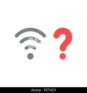 Vector illustration concept of grey wireless wifi symbol with red question mark icon. - Stock Photo