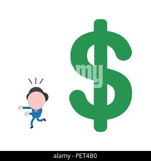 Vector illustration of faceless businessman character running away from big dollar money symbol. - Stock Photo
