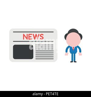 Vector illustration businessman mascot character with newspaper. - Stock Photo