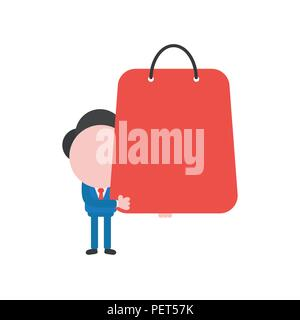 Vector illustration businessman character holding red shopping bag. - Stock Photo