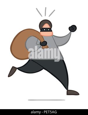 Vector illustration cartoon thief man with face masked running and carrying sack. - Stock Photo