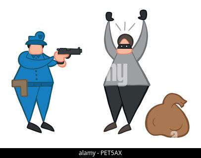 Vector illustration cartoon thief man with face masked and sack was caught by police. - Stock Photo