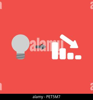 Flat vector icon concept of grey light bulb with sales bar graph arrow moving down on red background. - Stock Photo