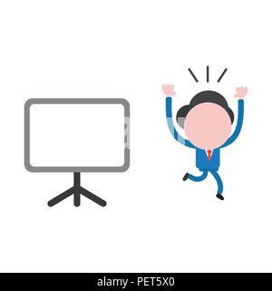 Vector illustration businessman character running away from blank presentation chart. - Stock Photo