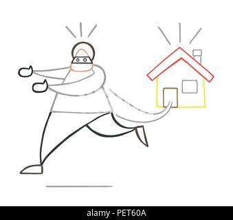 Vector illustration cartoon thief man with face masked running away from house. - Stock Photo