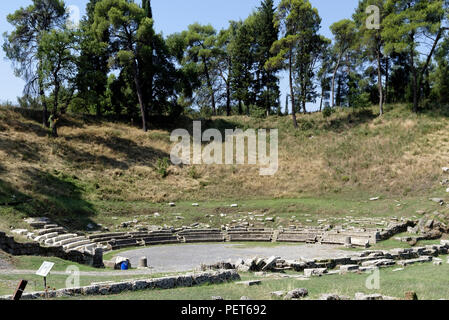 View of the ancient Greek theatre of Megalopolis, Arcadia, central Peloponnese, Greece. The theatre dates to 371 BC and was one of the largest theatre - Stock Photo