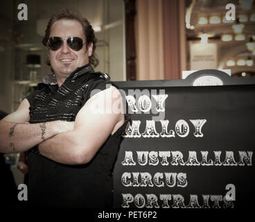 Performers from the Roy Maloy Australian Circus. Roy Maloy is known as the Australian Circus King and holds many world records. - Stock Photo