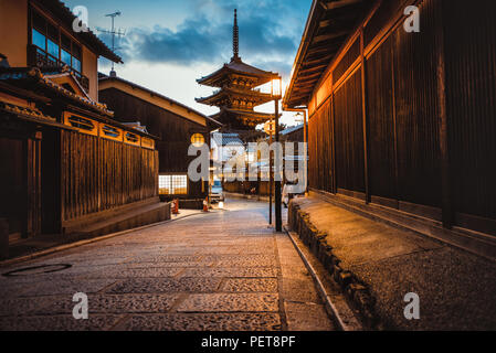 Kyoto temple pagoda in the village streets - Stock Photo