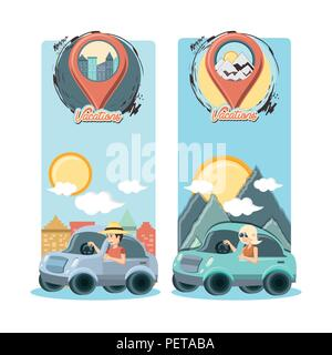 group of people in car vacations vector illustration design - Stock Photo