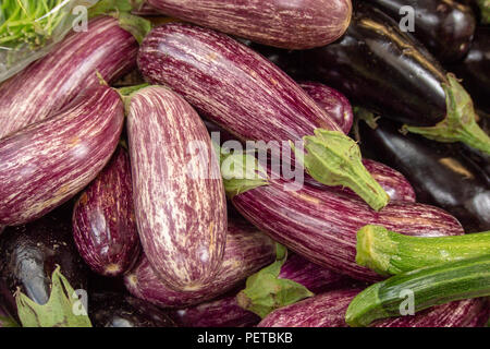 Fresh Aubergines on Sale in Borough Market, Southwark, London UK - Stock Photo