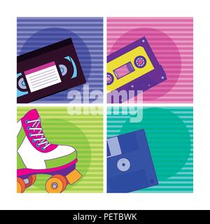 Set of 90s cartoons elements - Stock Photo