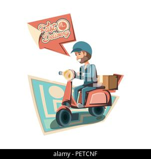 courier delivery service in motorcycle vector illustration design - Stock Photo