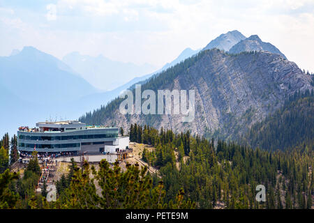 Gondola summit observation deck on top of Sulphur Mountain offers a panoramic view of six mountain ranges of the Bow Valley in Banff National Park. - Stock Photo