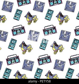 doodle retro thing old equipment background - Stock Photo