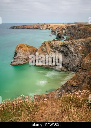 A long exposure looking down onto the North Cornwall coastline at Bedruthan Steps - Stock Photo