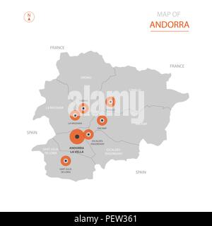 Stylized vector Andorra map showing big cities, capital Andorra la Vella, administrative divisions. - Stock Photo