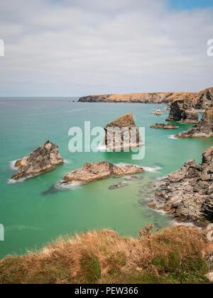 A long exposure looking down onto the sea stacks at Bedruthan Steps - Stock Photo