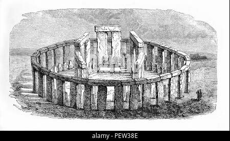 Vintage engraving of  Stonehenge prehistoric monument in Wiltshire, England, a ring of 4 m. high standing stones each weighting around 25 tons. - Stock Photo