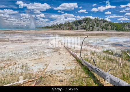 Grand Prismatic Spring, Yellowstone National Park, Wyoming, USA - Stock Photo