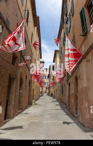 Flags of the Giraffe District (Contrada Giraffa) are hanging from the houses in the small street Via Delle Vergini in Siena, Tuscany, Italy