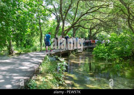 Crowds on the boardwalks in Krka National Park, Croatia. - Stock Photo