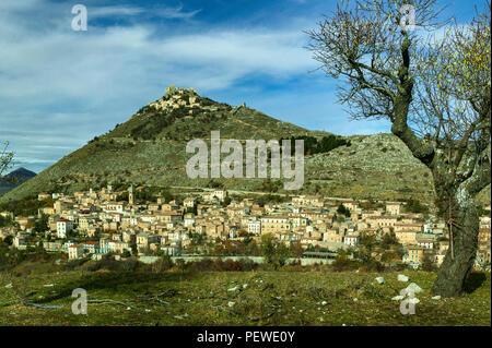 Calascio and its fortress. Abruzzo - Stock Photo