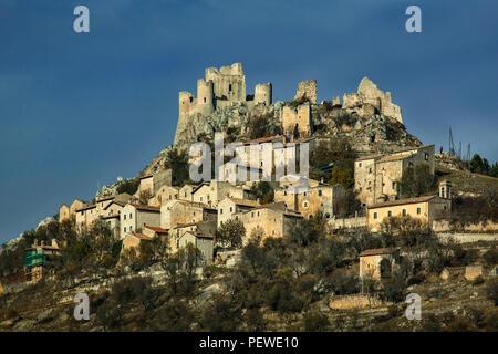 Rocca Calascio, the highest castle. Abruzzo - Stock Photo