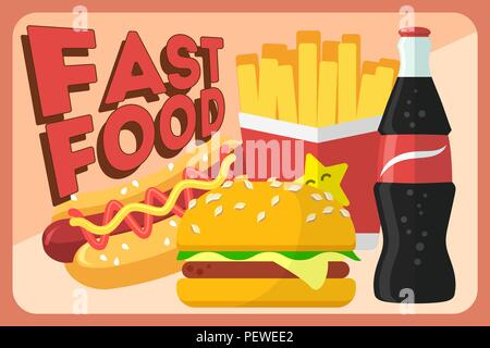 Colorful Fast food vector retro banner. Fast food hamburger dinner and restaurant, tasty set fast food many meal and unhealthy fast food classic nutrition in flat style. - Stock Photo